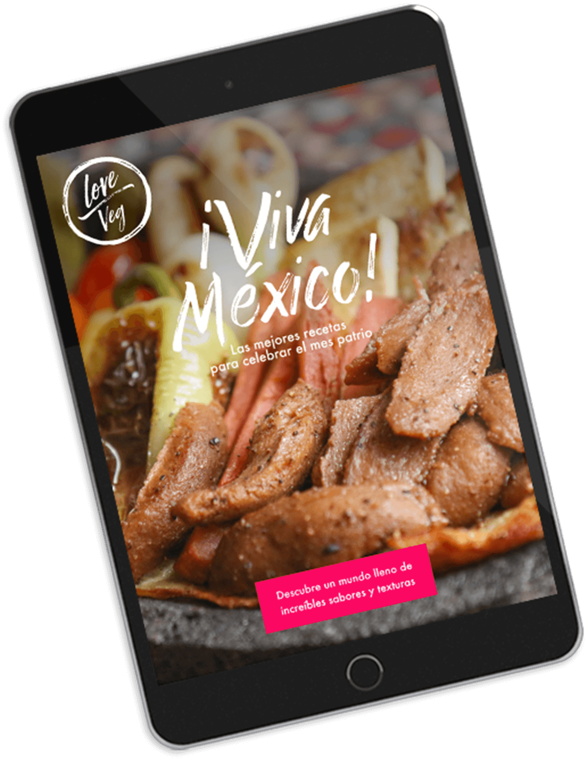 Preview of e-cookbook with vegan recipes on a tablet pc